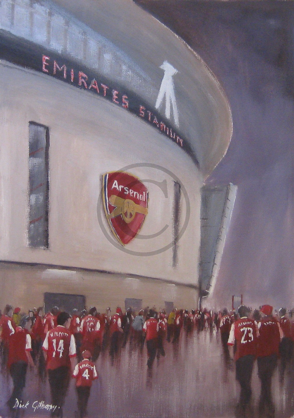 Arsenal FC football paintings by Dick Gilhespy