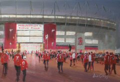 Football painting for Middlesbrough FC, by Dick Gilhespy